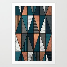 Copper, Marble and Concrete Triangles with Blue Art Print