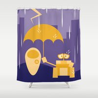 wall e Shower Curtains featuring Wall-E by Gardner Art and Design