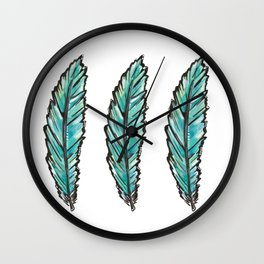 Aqua Blue Feather Wall Clock
