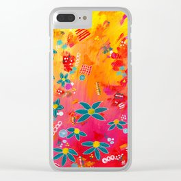 Yellow Delight Clear iPhone Case