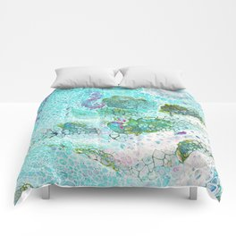 Abstract contemporary painting, aerial view of the ocean and its coral reef Comforters