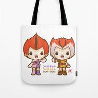 thundercats Tote Bags featuring Willykit & Willykat - 2 by Azul Piñeiro