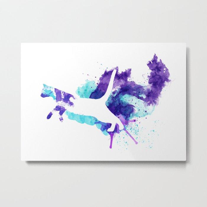 Watercolor Splat Cat Metal Print