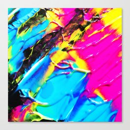 The 80s Retro Dream Ice Cream - Blue Pink and Yellow Paint on Canvas Canvas Print