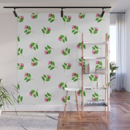 Hand painted pink green watercolor hand painted floral Wall Mural