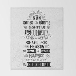 Lab No. 4 The Sun Shines Ralph Waldo Emerson Inspirational Quote Throw Blanket