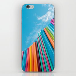 Colorful Rainbow Pipes Against Blue Sky iPhone Skin
