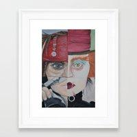 johnny depp Framed Art Prints featuring Johnny Depp by Hannah Peach