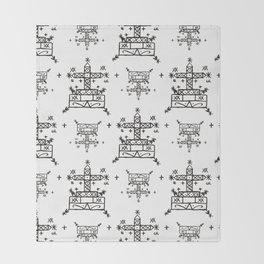 Baron Samedi Voodoo Veve Symbols in White Throw Blanket