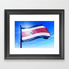 Costa Rica flag waving on the wind Framed Art Print