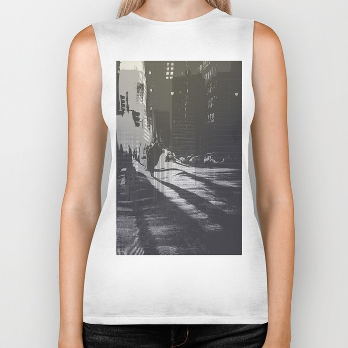 City collage Biker Tank