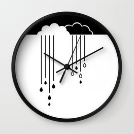 Black And White Clouds Wall Clock