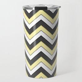 Black Yellow and White Chevrons Travel Mug