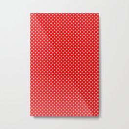 white polka dot skulls on red Metal Print