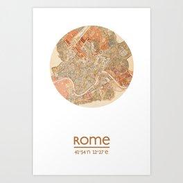 ROME ITALY - city poster - city map poster print Art Print