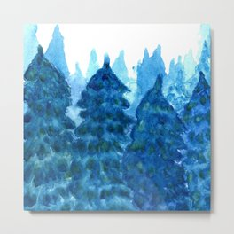 Winter Forest landscape watercolor Metal Print