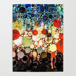 Contemporary Blue Orange Bubble Abstract Poster