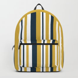 Vertical Stripes in Navy Blue, Mustard Yellow, and White Backpack