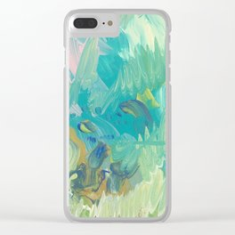 Green Swells Clear iPhone Case