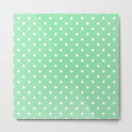 Mint Green with White Polka Dots Metal Print