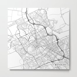 Waterloo Map, Canada - Black and White Metal Print