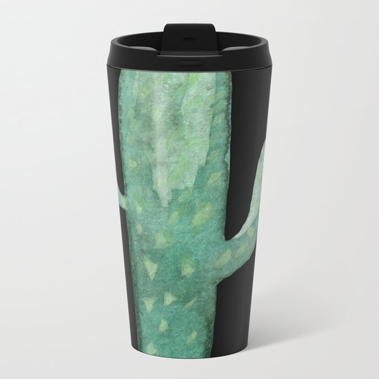 Arizona Night Cactus Mint Green Metal Travel Mug