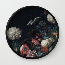 Dutch dark Dramatic Floral arrangement Wall Clock