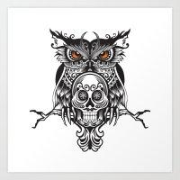 Owl and Skull Art Print