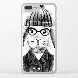 Hiphop Beanie Bunny Top Clear iPhone Case