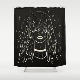 Melting Hair Space Girl Shower Curtain