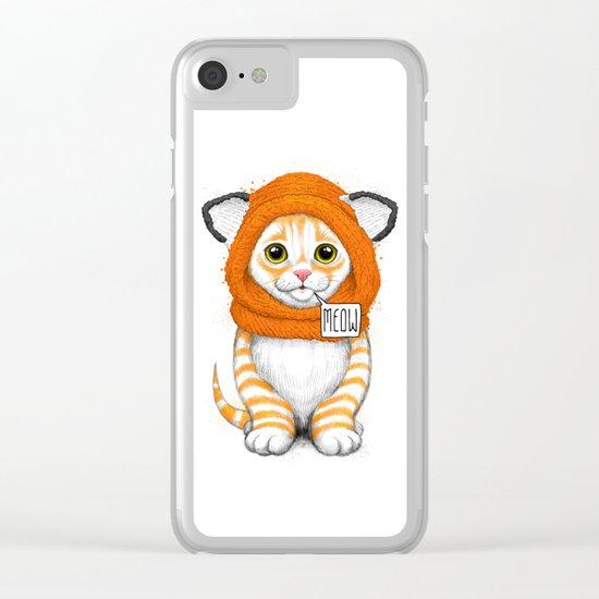 kitten in fox cap Clear iPhone Case