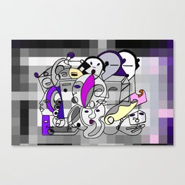Black White Commotion Canvas Print