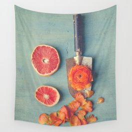 Grapefruit and Flowers Wall Tapestry
