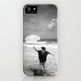 The Girl with the Umbrella - Black and White Photograph  iPhone Case