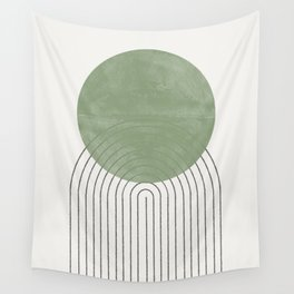 Green Sun Positive Vibe  Wall Tapestry