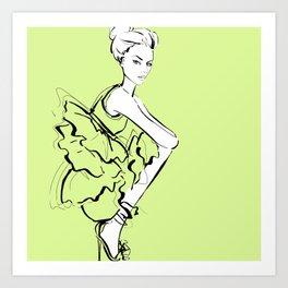 Girl in a frill dress Art Print