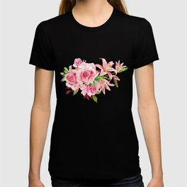 Flowers roses and Lilies watercolor T-shirt