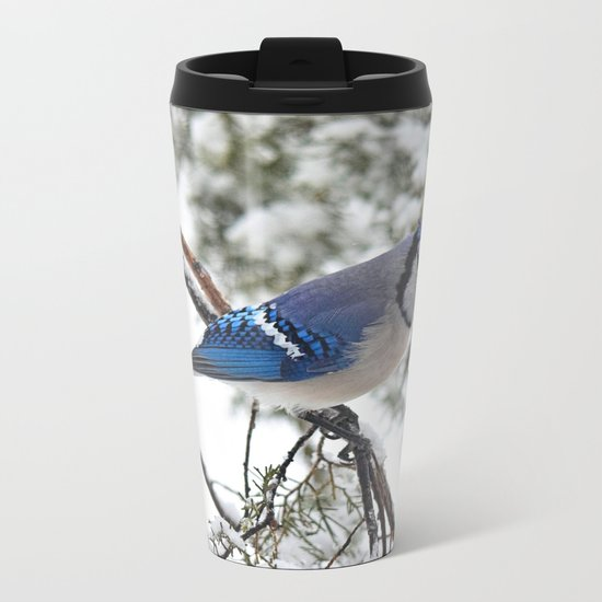 Beautiful Blue Jay Metal Travel Mug