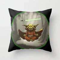 yoda Throw Pillows featuring Yoda by Marc Vuletich