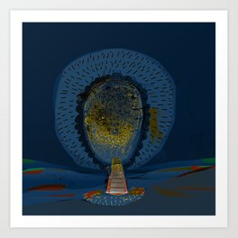Tree Cactus in a Blue Desert Art Print