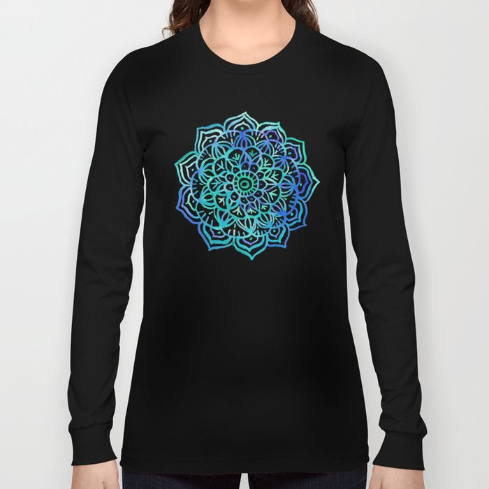 Watercolor Medallion in Ocean Colors Long Sleeve T-shirt