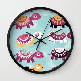turtle Seamless pattern with funny cute animal on a blue background Wall Clock