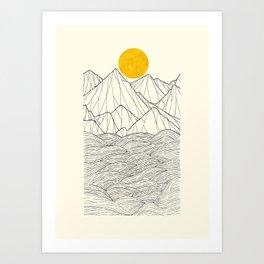 Line sun cliffs Art Print