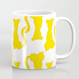 Yellow Spotted Cats Pattern Coffee Mug