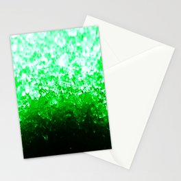 Emerald Green Ombre Crystals Stationery Cards