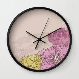 Retro Pink Peonies Wall Clock