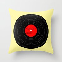springsteen Throw Pillows featuring Born to Run- Bruce Springsteen Vinyl by MisfitIsle