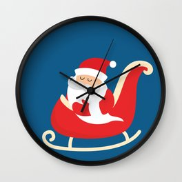 Merry Christmas Santa Claus Flying in his Sleigh Wall Clock
