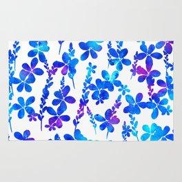 Mystic blue flowers & leaves Rug