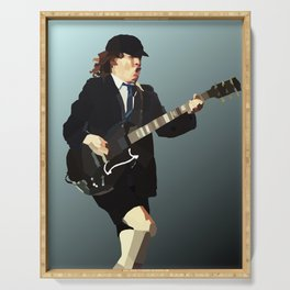 Low Polygon Portrait of Angus Young Serving Tray
